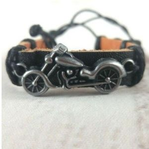 Jewelry - Leather Cuff With Vintage Motorcycle Charm